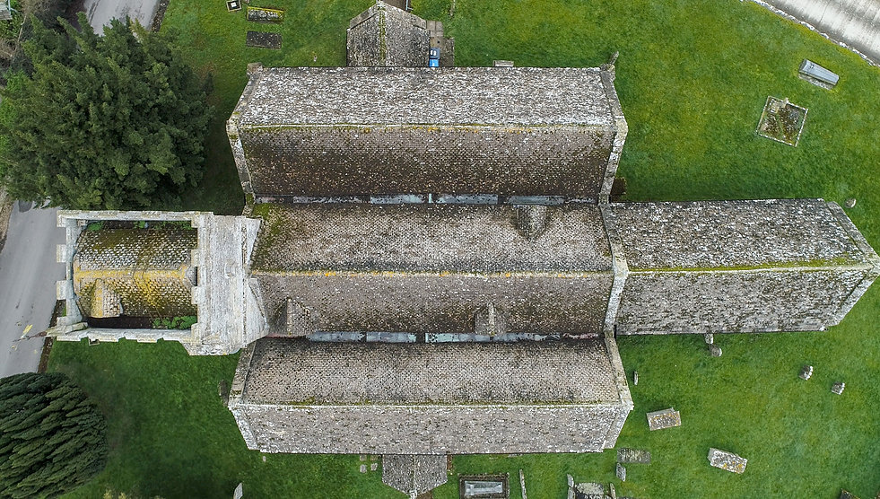 drone-based aerial inspection & survey of a church roof