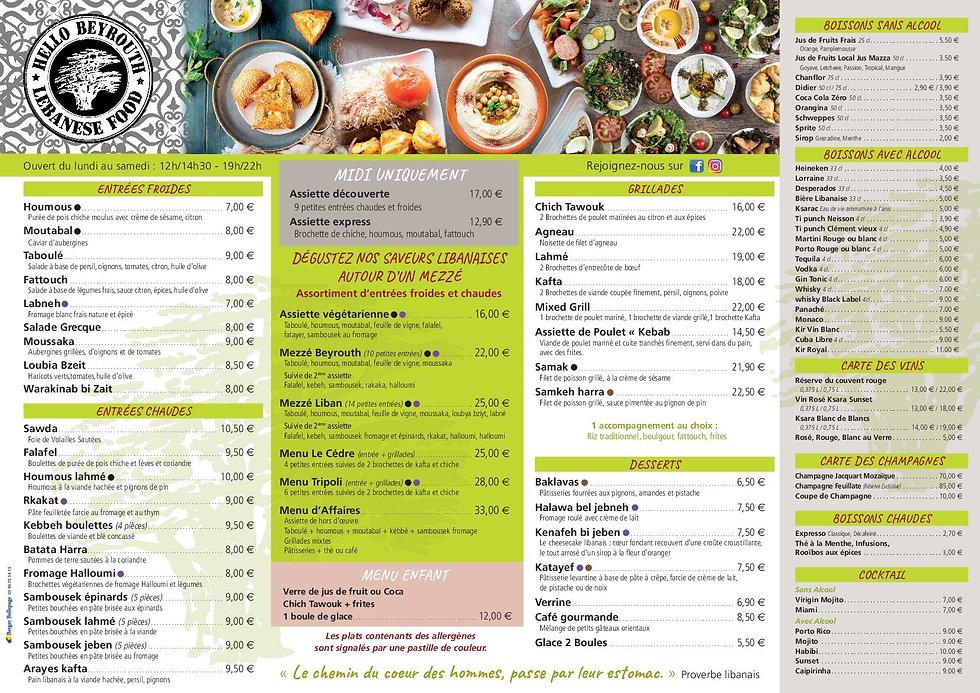 Nouvelle Carte Hello Beyrouth restaurant libanais en Martinique