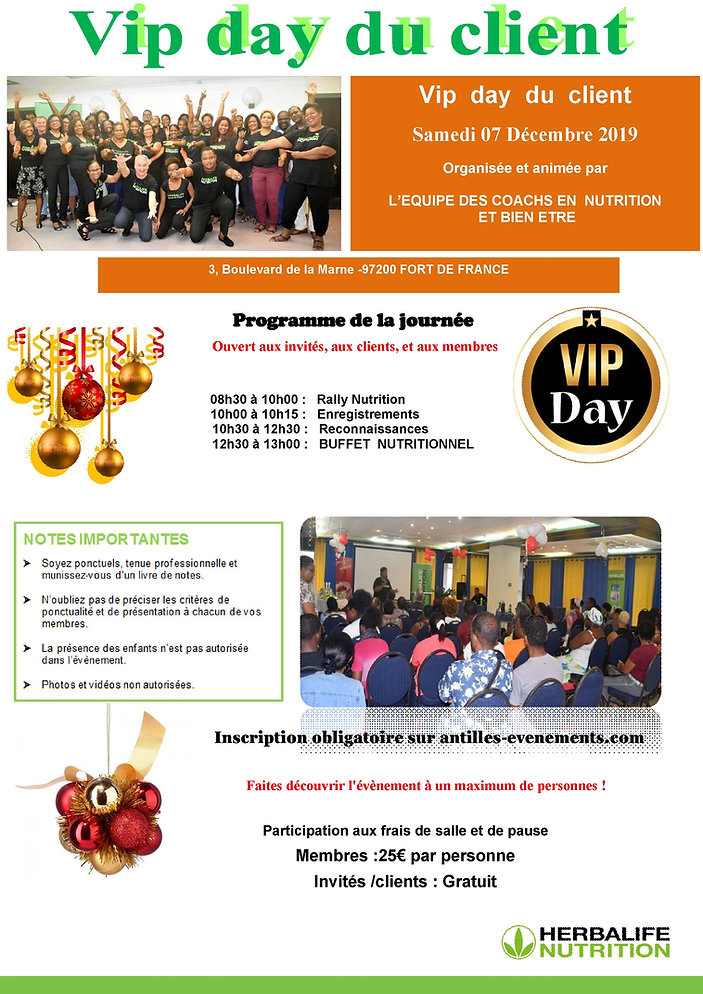 VIP DAY DU CLIENT  MARTINIQUE DECEMBRE 2