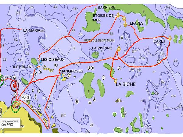 Carte Gwadaboat itineraire bateau