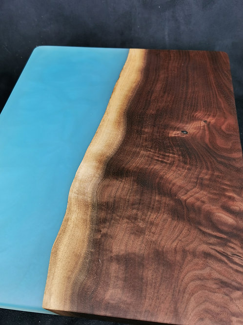 Large Black Walnut Serving Board with Sky Blue Epoxy