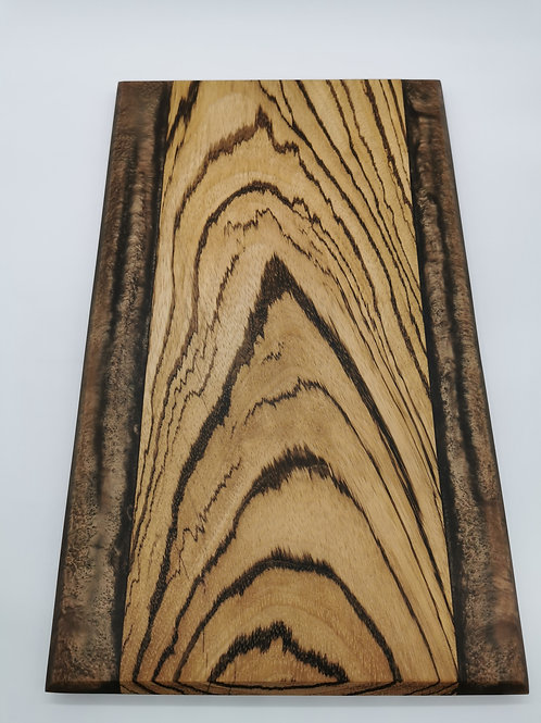 Zebra Wood Serving Board with Brown Expoy