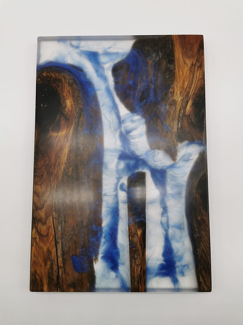 Driftwood Serving Board with Royal Blue Expoy