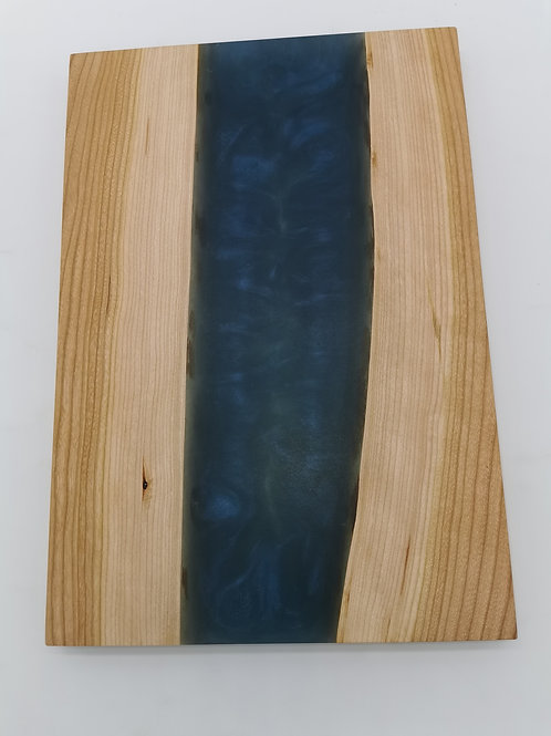 Cherry Serving Board with Smoke and Blue Epoxy