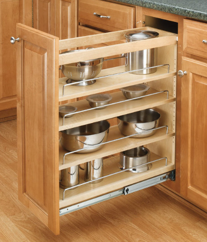 Base cabinet pull outs
