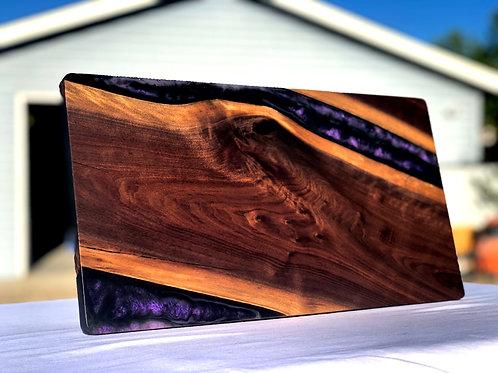 Black Walnut and Purple Epoxy serving board