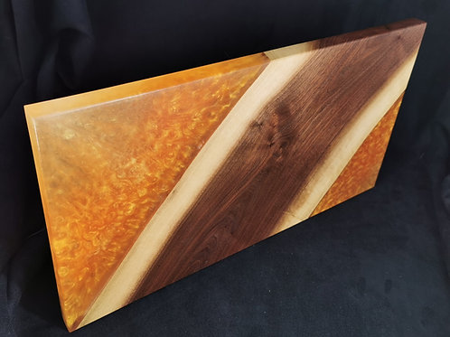 Black Walnut Serving Board with Gold and Gold pearl Epoxy