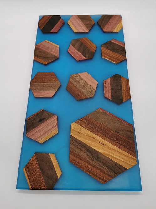 Mulitwood serving board with Sky Blue Epoxy