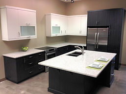 Grey and white kitchen renovation