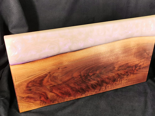 Black Walnut serving board with White and  Purple Pearl Epoxy