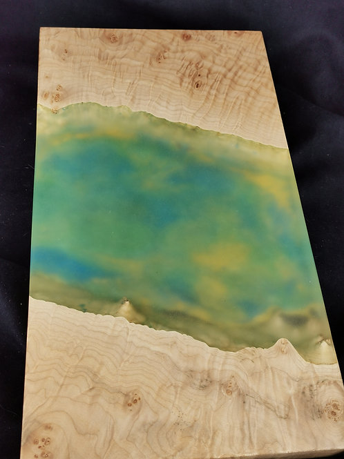 Maple Burl Serving Board with Sky Blue, Green and Yellow Epoxy