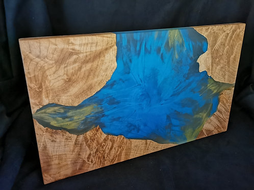 Maple Burl Serving Board with Sky blue and Yellow Epoxy