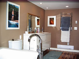 Bathroom renovation with freestanding tub