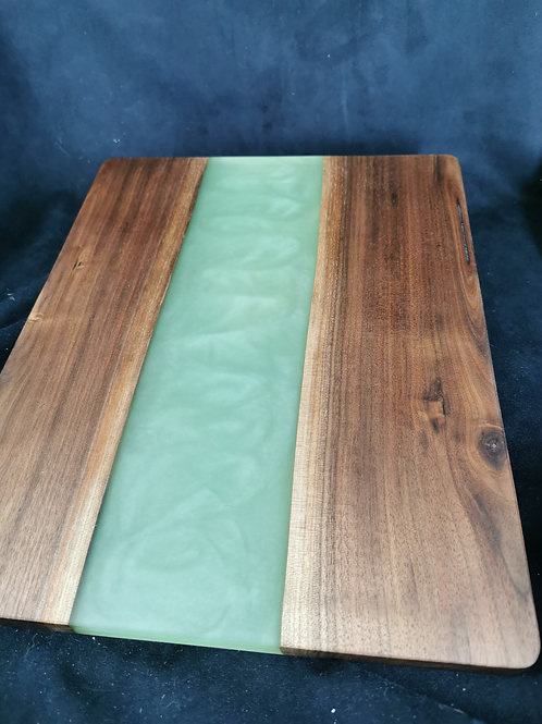 Large Black Walnut Serving Board with Green Epoxy
