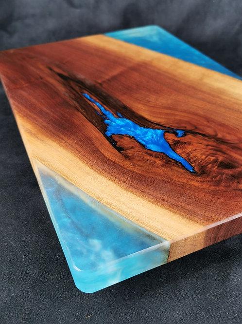 Black Walnut Serving Board with Sky Blue Epoxy