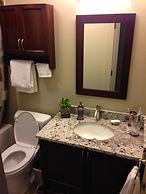 Bathroom renovation with Bianco Antico granite