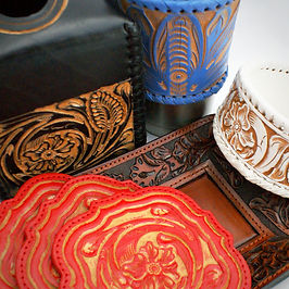 The Brock Collection - 100% Hand tooled saddle leather coaster, catchall, tisse box cover, coaster set, wine bottle coaster, picture frame, tumbler cuff