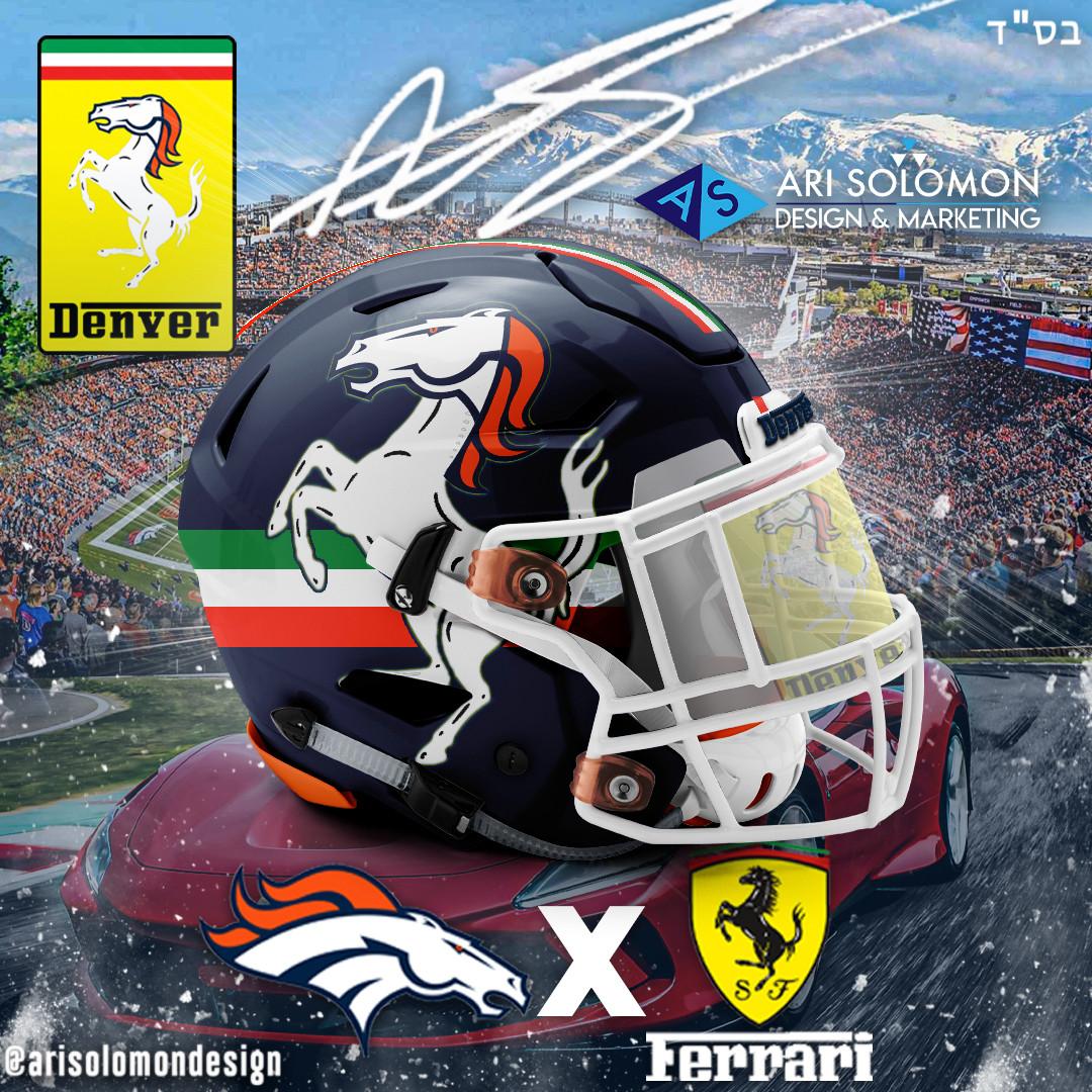 Broncos X Ferrari Helmet