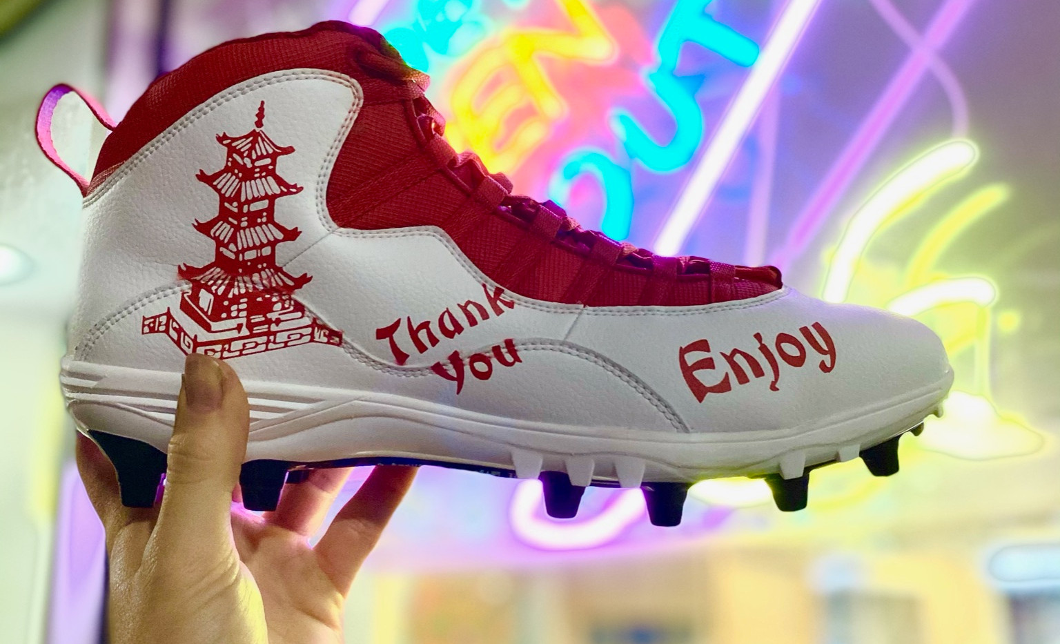 Khalen Saunders Chinese Food Cleats