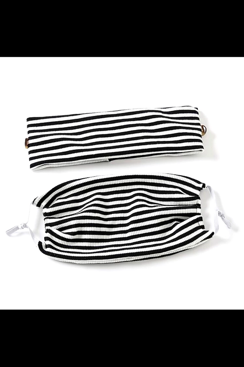 Striped 2pcs head band and mask.