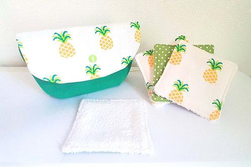 Ensemble pochette + lingettes mon ananas