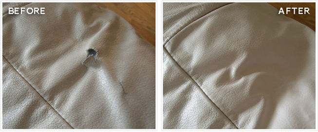 Parker Furniture - Parker's Partners - Leather Repair - Before & After
