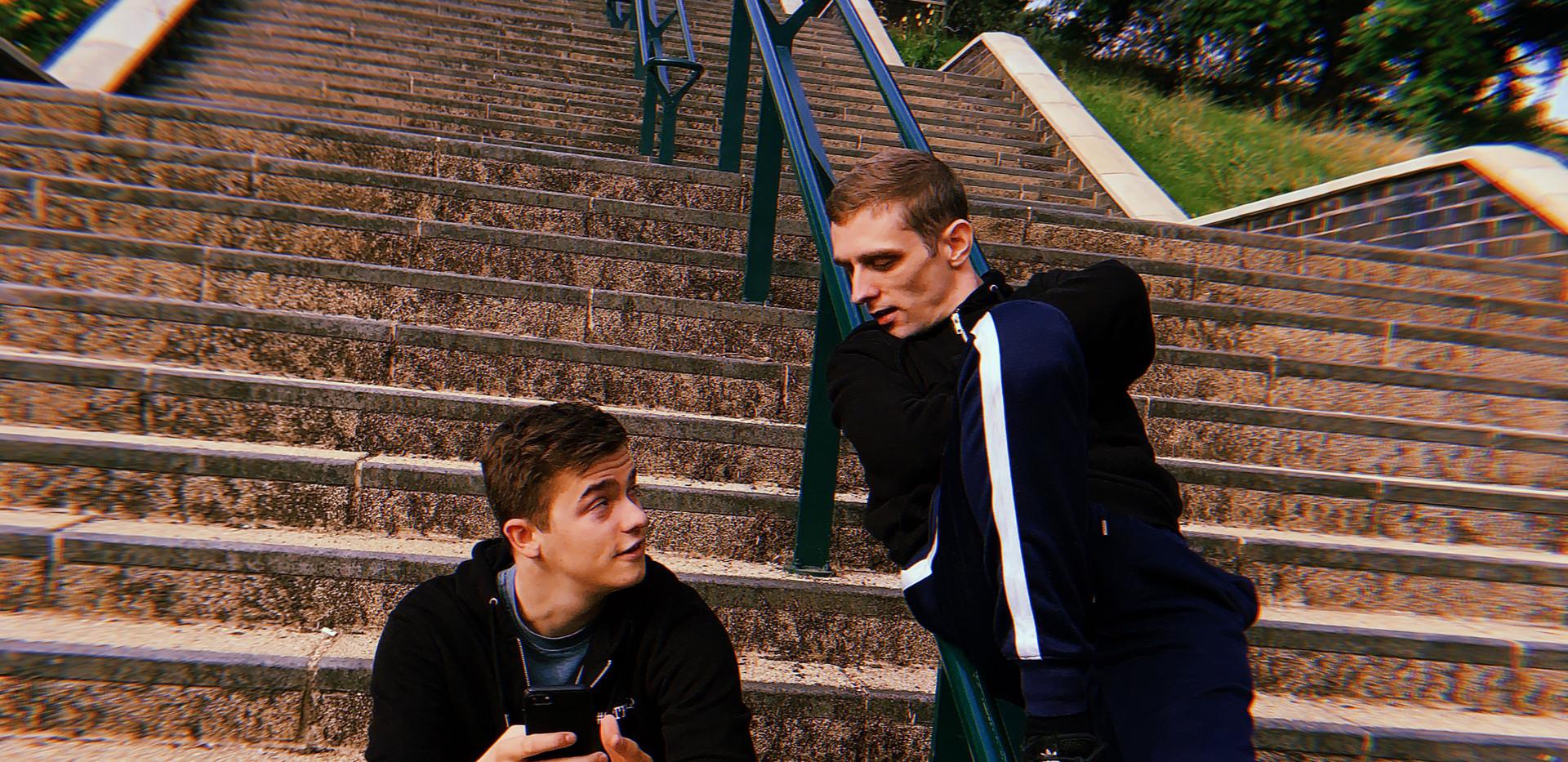Noé & Jack filming material for the #GETHELP website