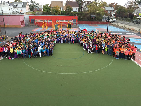 Rainbow of children from PS 131Q