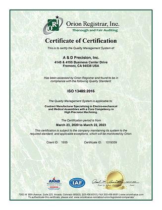 Certificate-A  D Precision Inc.-ISO 1348