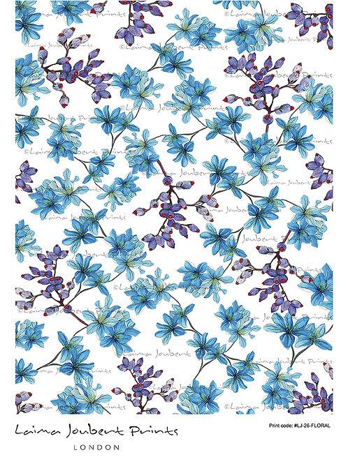 Blue Watercolour Flowers