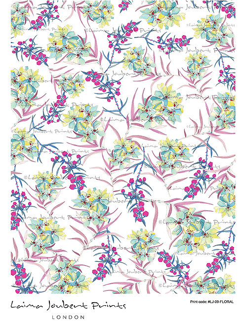Pink Berries and Flowers Print