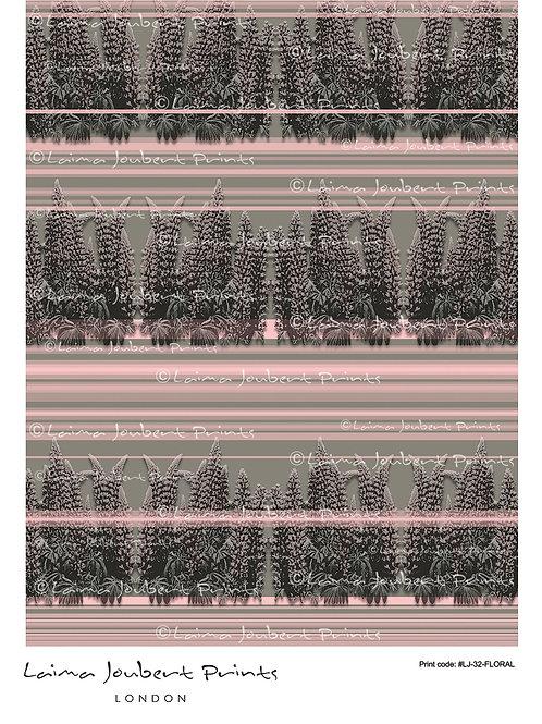 Flowers in Pink Stripe Pattern