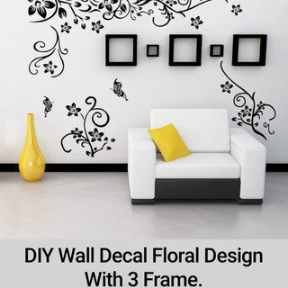 DIY Wall Decal Floral Design With 3 Frame.