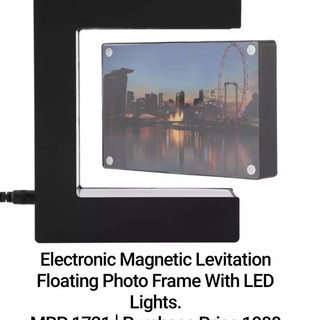 Electronic Magnetic Levitation Floating Photo Frame With LED Lights.