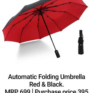 Automatic Folding Umbrella Red & Black.