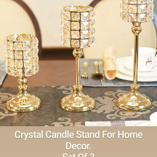 Crystal Candle Stand For Home Decor.
