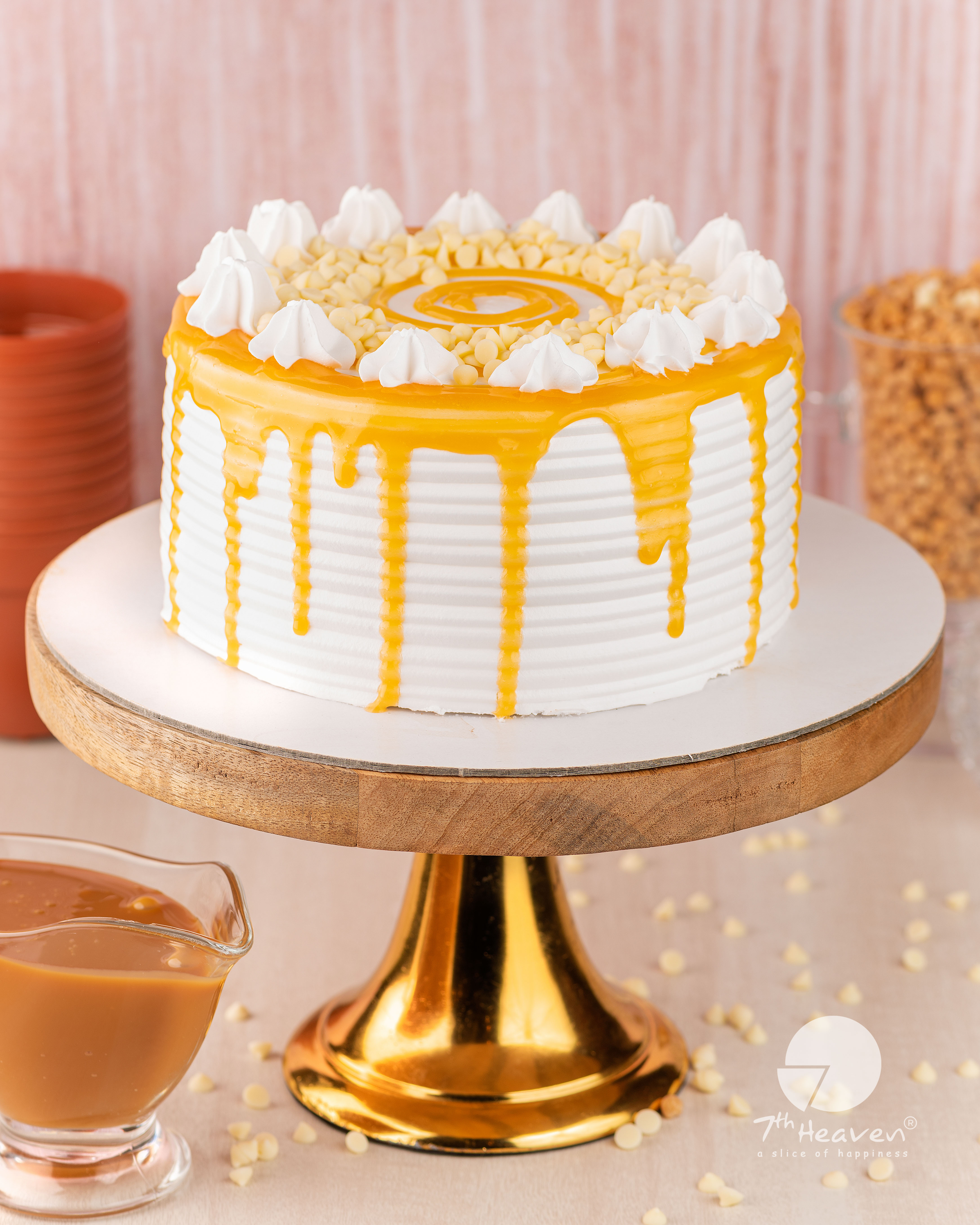 Caramel and white choco chips cake