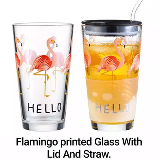 Flamingo Printed Glass With Lid And Straw.