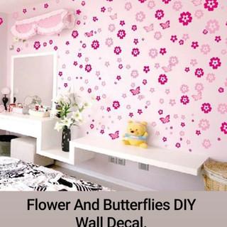 Flower And Butterflies DIY Wall Decal.