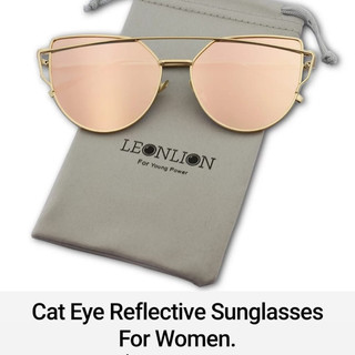 Cat Eye Reflective Sunglasses For Women.