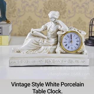 Vintage Style White Porcelain Table Clock.