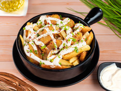 Cheesy french fries and wedges duo