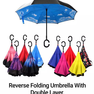 Reverse Folding Umbrella With Double Layer.