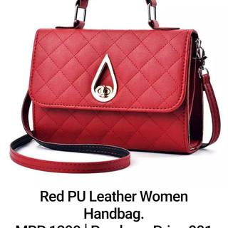 Red PU Leather Women Handbag.