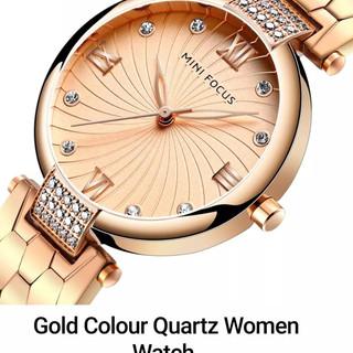 Gold Colour Quartz Women Watch.