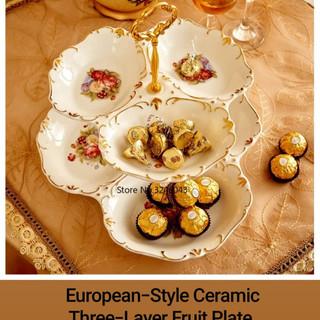 European-Style Ceramic Three-Layer Fruit Plate.