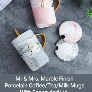 Mr & Mrs. Marble Finish Porcelain Coffee/Tea/Milk Mugs With Spoon And Lid.
