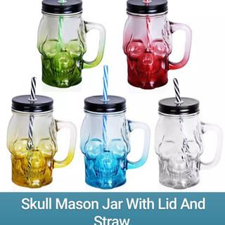 Skull Mason Jar With Lid And Straw.