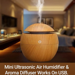 Mini Ultrasonic Air Humidifier & Aroma Diffuser Works On USB.