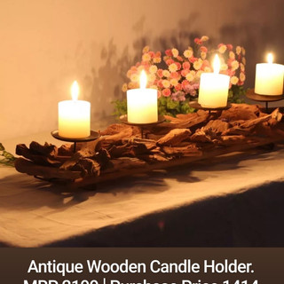 Antique Wooden Candle Holder.
